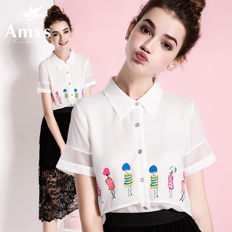 休闲短袖衬衫 AMXS艾慕斯新款polo衫休闲欧美女装夏季宽松衬衣短袖衬衫白上衣_推荐淘宝好看的女休闲短袖衬衫