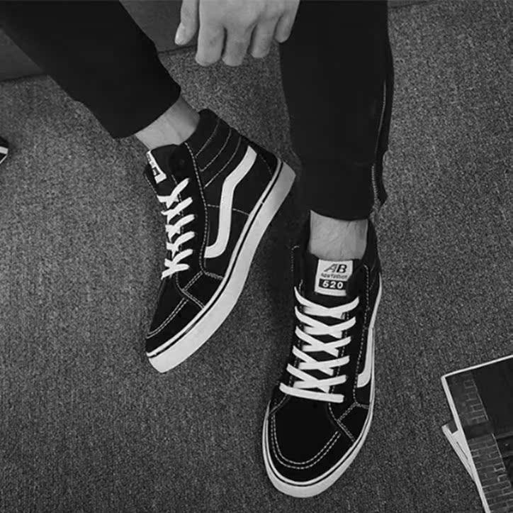 黑色高帮鞋 秋季新款原宿风帆布鞋男高帮学生百搭潮鞋情侣鞋子韩版滑板鞋黑色_推荐淘宝好看的黑色高帮鞋