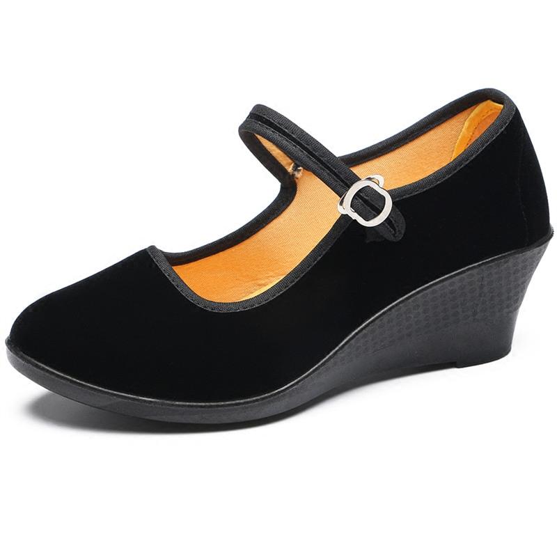 时尚高跟鞋 老北京布鞋粗跟坡跟时尚工作单鞋礼仪高跟鞋工装新款女黑布鞋_推荐淘宝好看的女时尚高跟鞋