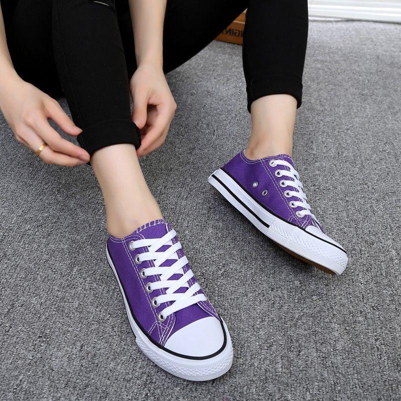紫色帆布鞋 夏季粉色紫色帆布鞋女鞋韩版单鞋系带平底深绿色女学生休闲鞋板鞋_推荐淘宝好看的紫色帆布鞋
