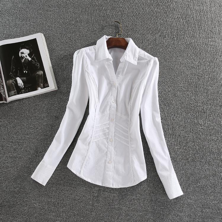 条纹衬衫 秋装新款女士修身显瘦弹性长袖衬衫  细条纹长袖衬衣办公室衬衫_推荐淘宝好看的女条纹衬衫