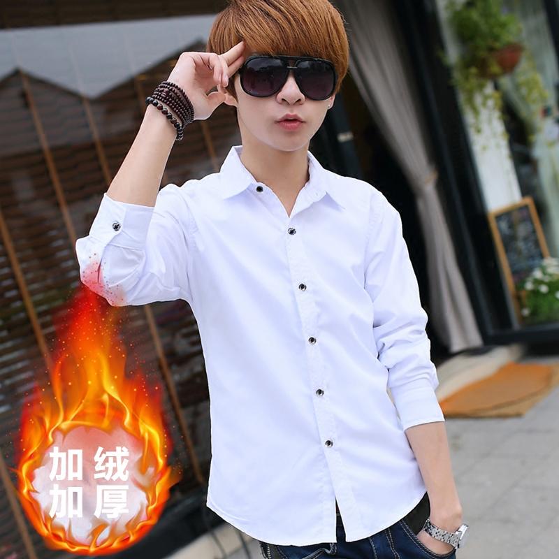 黑色衬衫 冬季保暖长袖衬衫男士韩版修身青少年加绒白色衬衣潮男装加厚寸衫_推荐淘宝好看的黑色衬衫