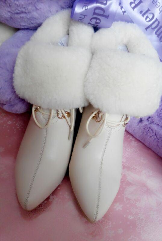 粉红色坡跟鞋 女鞋秋冬新款粉红色米白色坡跟高跟尖头女短靴保暖真皮牛皮女靴子_推荐淘宝好看的粉红色坡跟鞋