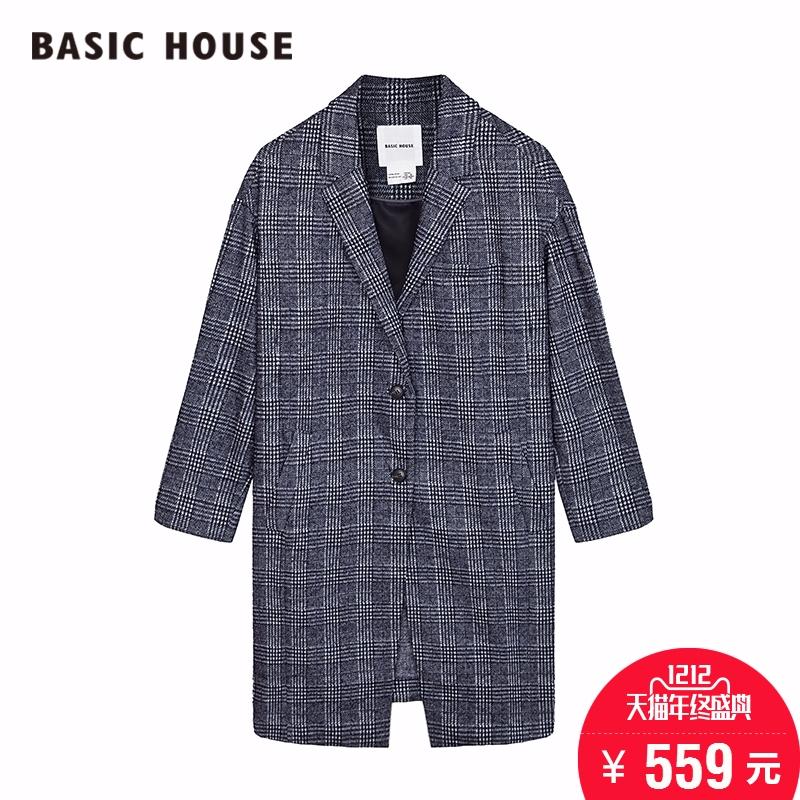 百家好女装 Basic House百家好新款女式大衣韩版方格外套HPCA522D_推荐淘宝好看的百家好女