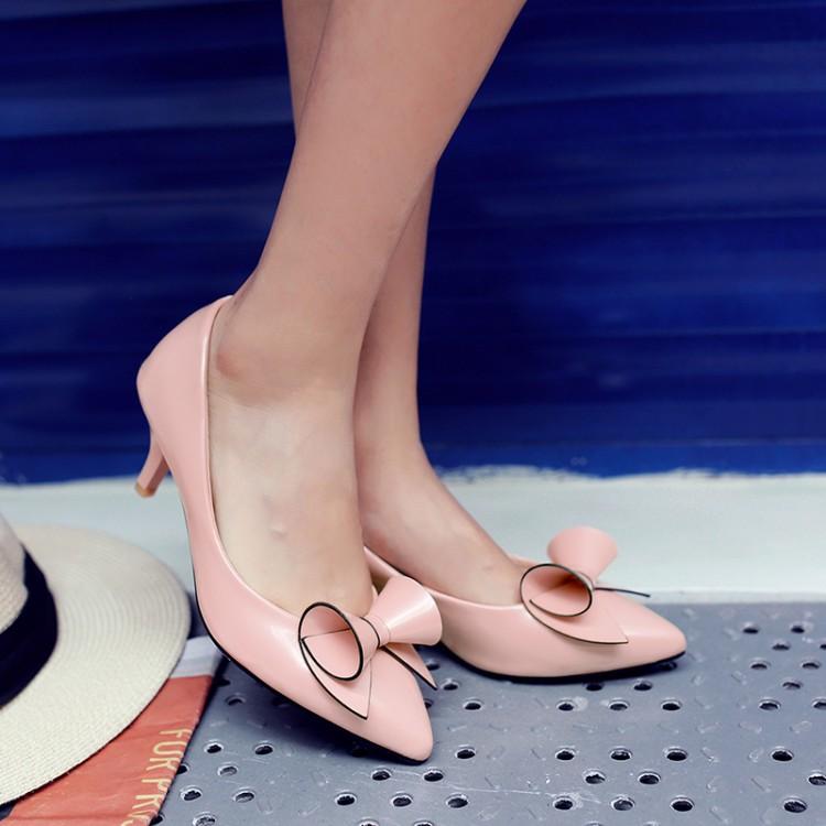 粉红色尖头鞋 女鞋酒红色米白色粉红色蝴蝶结中跟单鞋尖头小码特大码鞋 48 XZQ_推荐淘宝好看的粉红色尖头鞋