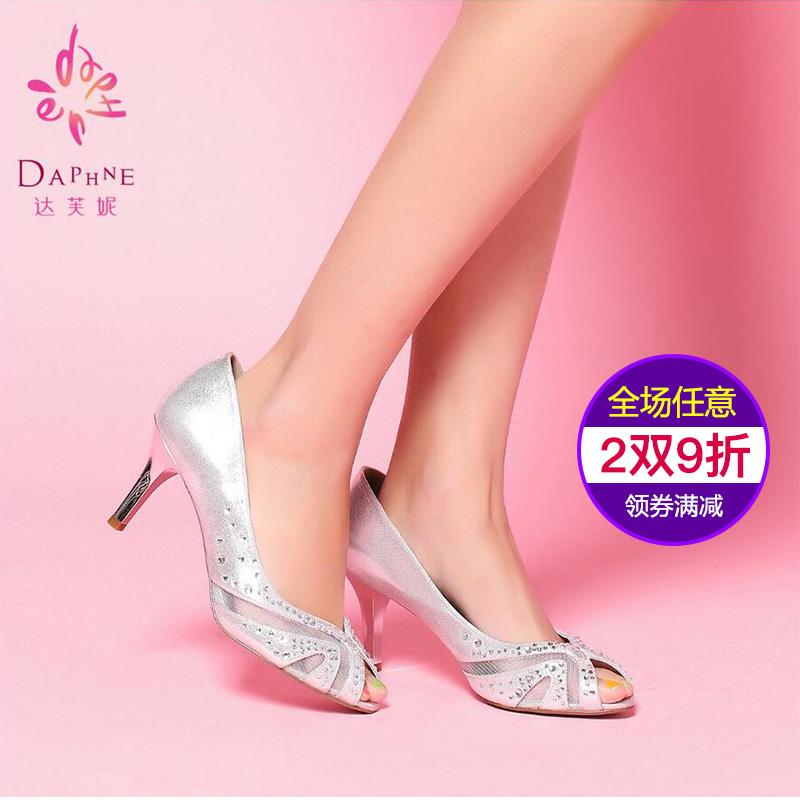 达芙妮鱼嘴鞋 Daphne达芙妮正品 春季新款女鞋优雅水钻金属色细跟鱼嘴单鞋打折_推荐淘宝好看的女达芙妮鱼嘴鞋