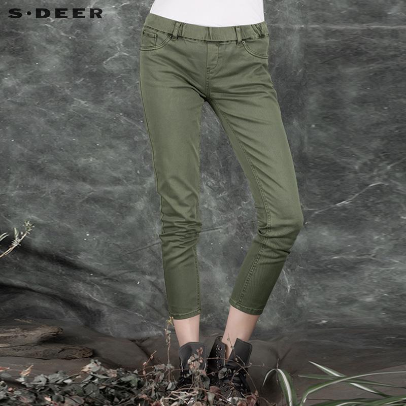 圣迪奥女装 sdeer圣迪奥女装纯色质感修身牛仔裤S15380899_推荐淘宝好看的圣迪奥