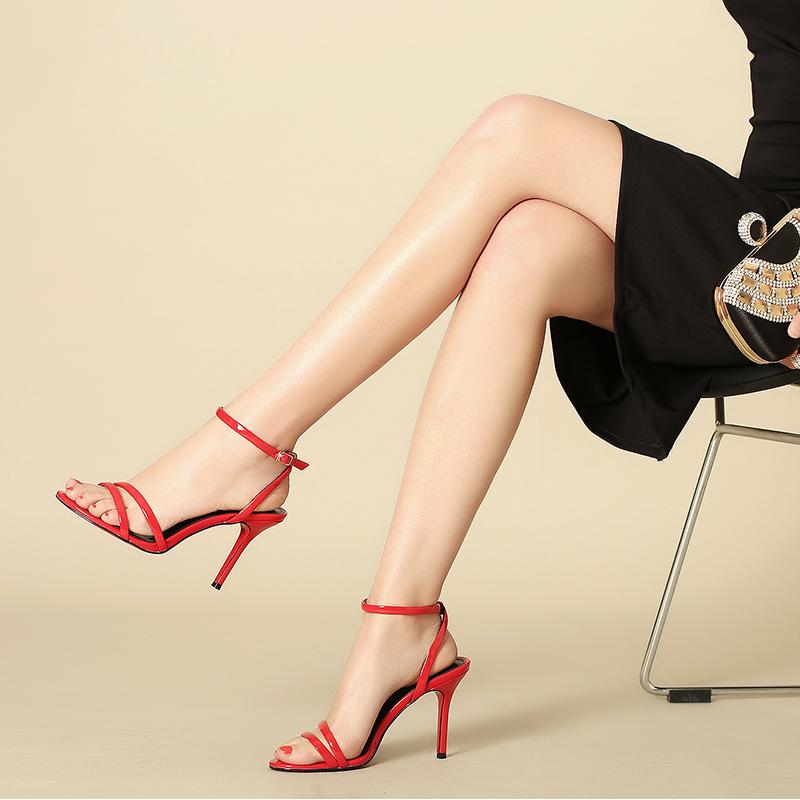 红色凉鞋 红色高跟凉鞋女夏细跟2017新款时尚一字绑带真皮百搭欧美性感女鞋_推荐淘宝好看的红色凉鞋