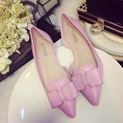 粉红色平底鞋 甜美系时尚平底鞋韩版单鞋蝴蝶结浅口粉红色平跟2015新款潮女鞋_推荐淘宝好看的粉红色平底鞋