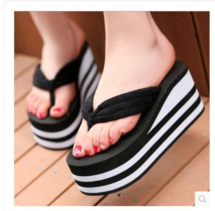 松糕厚底拖鞋 夏季新款厚底高跟坡跟毛巾人字拖女防滑沙滩鞋时尚松糕跟拖鞋凉拖_推荐淘宝好看的女松糕厚底拖鞋