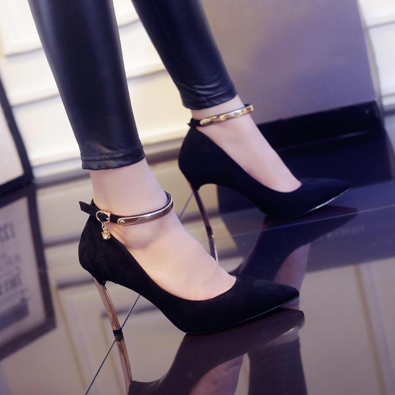 女性高跟鞋 秋季新款女士尖头鞋百搭高跟鞋黑色单鞋浅口工作鞋OL细跟职业女鞋_推荐淘宝好看的女高跟鞋