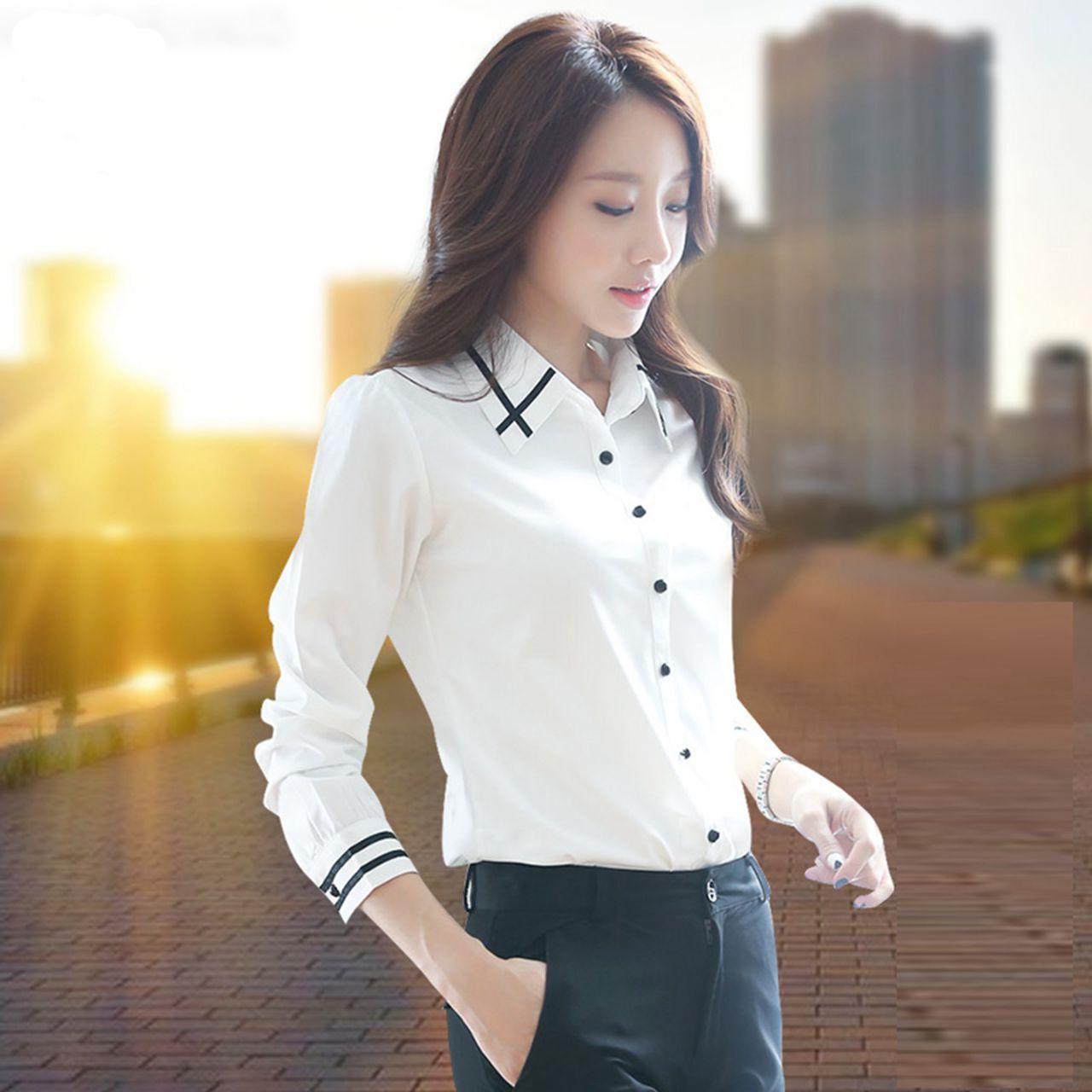 韩版雪纺衬衫 白衬衫女长袖韩范学院风韩版休闲职业装女士衬衣雪纺上衣大码寸衫_推荐淘宝好看的女韩版雪纺衬衫