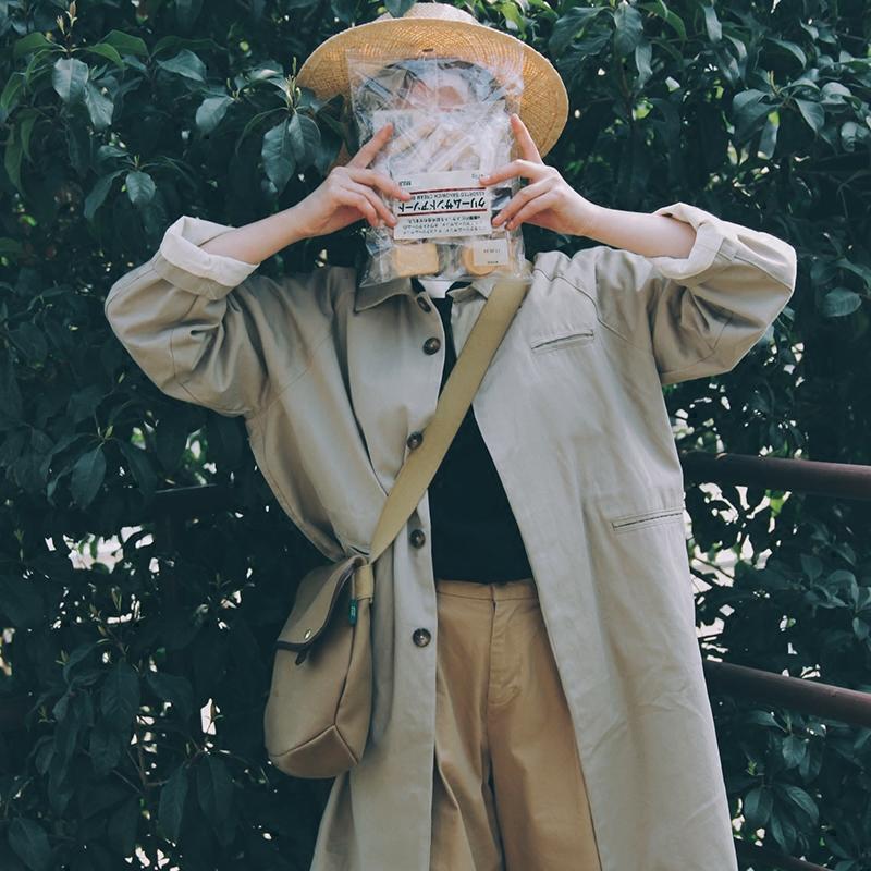 日系风衣 【现货】Seagulls2017日系中长款卡其风衣宽松复古文艺工装外套女_推荐淘宝好看的女日系风衣