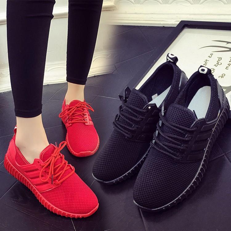 红色运动鞋 休闲鞋女跑步平跟系带韩版大童圆头学生旅游运动红色跑步女单鞋潮_推荐淘宝好看的红色运动鞋
