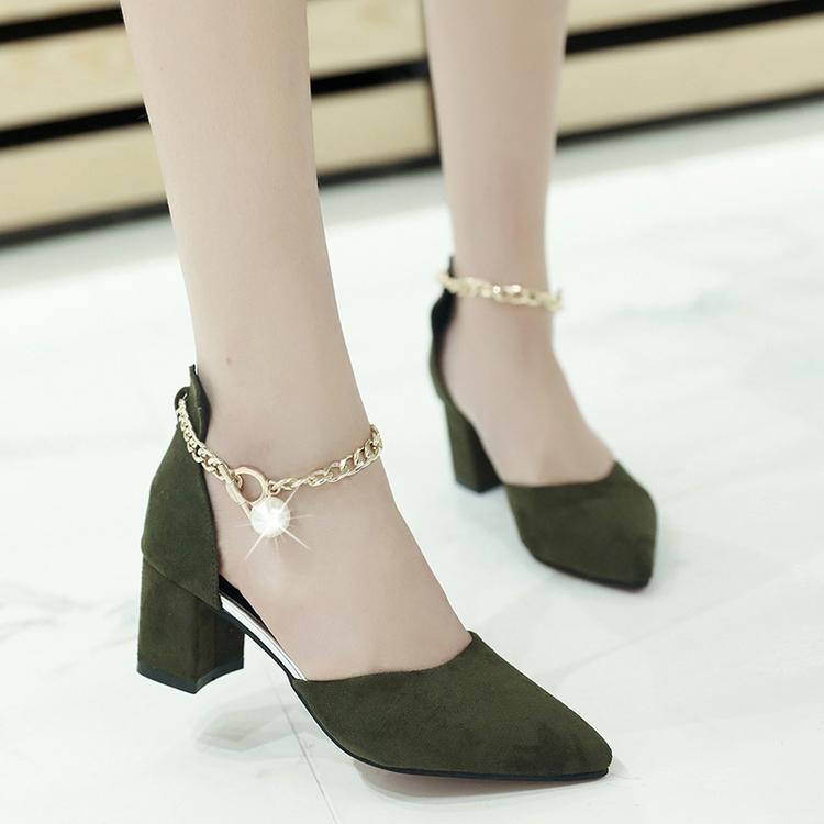 绿色凉鞋 2017夏季新款粗跟凉鞋包头高跟鞋舒适甜美上班工作鞋墨绿色鞋子34_推荐淘宝好看的绿色凉鞋