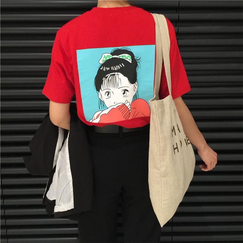 韩版t恤 2017夏季新款个性卡通t恤女短袖韩版学生宽松印花打底衫红色上衣_推荐淘宝好看的女韩版t恤