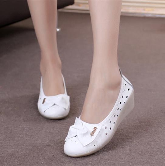 真皮坡跟鞋 白色护士鞋凉鞋坡跟护士鞋夏季真皮牛筋底舒适透气美容师鞋女休闲_推荐淘宝好看的真皮坡跟鞋