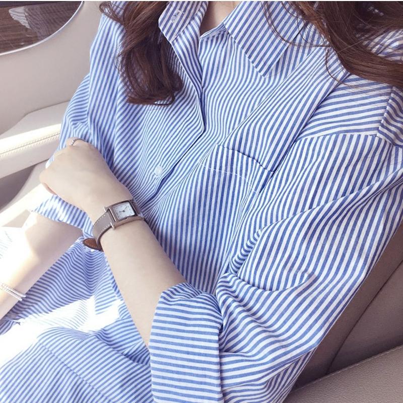 女士长款衬衫 2016秋季新款蓝白色条纹衬衫女中长款长袖 纯棉方领加肥大码衬衣_推荐淘宝好看的女长款衬衫