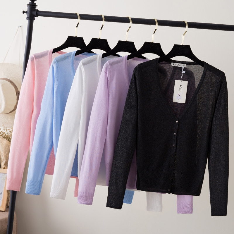 粉红色针织衫 天天特价2017夏长袖冰丝上衣小外搭薄款短款空调衫防晒针织女开衫_推荐淘宝好看的粉红色针织衫