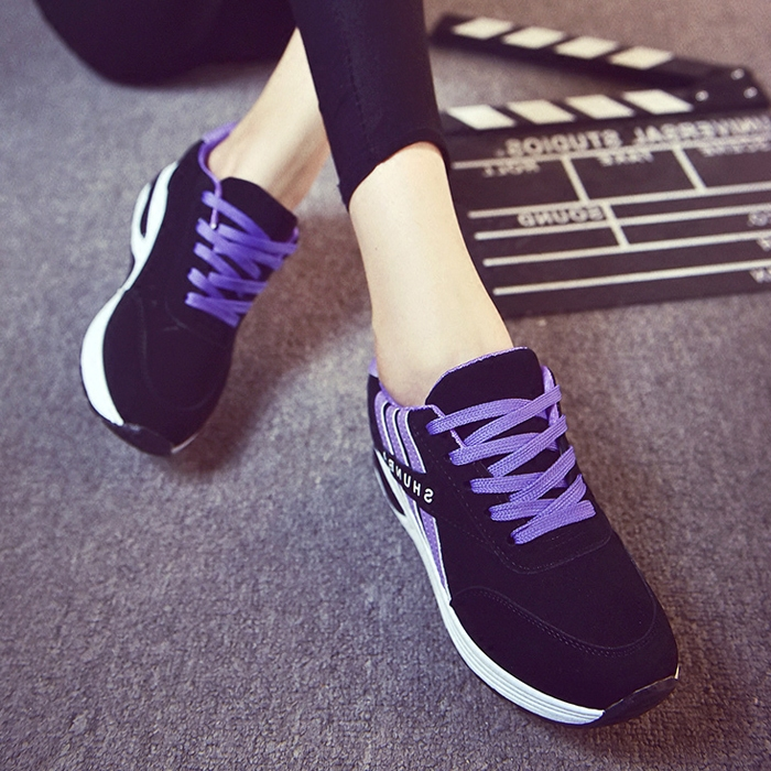 紫色运动鞋 2016秋冬新款休闲运动鞋女韩版跑步鞋学生轻便时尚厚底紫色三条杠_推荐淘宝好看的紫色运动鞋