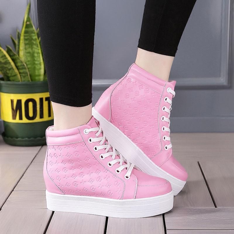 粉红色坡跟鞋 隐形内增高女鞋秋冬松糕跟厚底高帮鞋粉红色真皮休闲鞋坡跟运动鞋_推荐淘宝好看的粉红色坡跟鞋