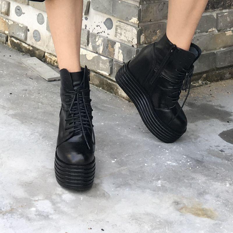 高帮松糕鞋 秋季女街头牛皮系带厚底高帮休闲鞋高坡跟马丁靴松糕跟内增高短靴_推荐淘宝好看的女高帮松糕鞋