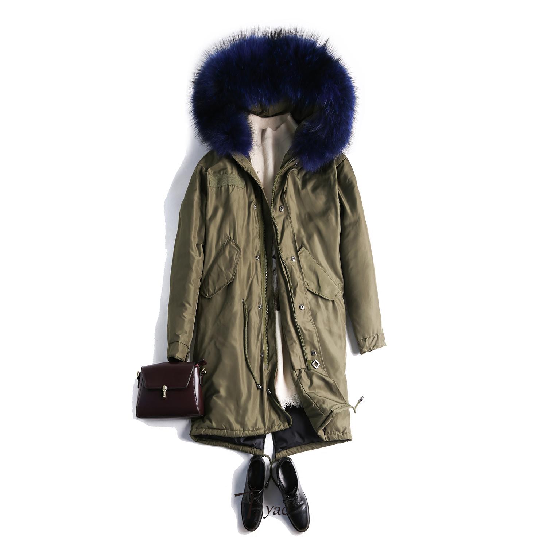 欧时力羽绒服 高性价比 Tyac90白鸭绒蓝色连帽大毛领派克大衣羽绒服女中长款_推荐淘宝好看的欧时力羽绒服