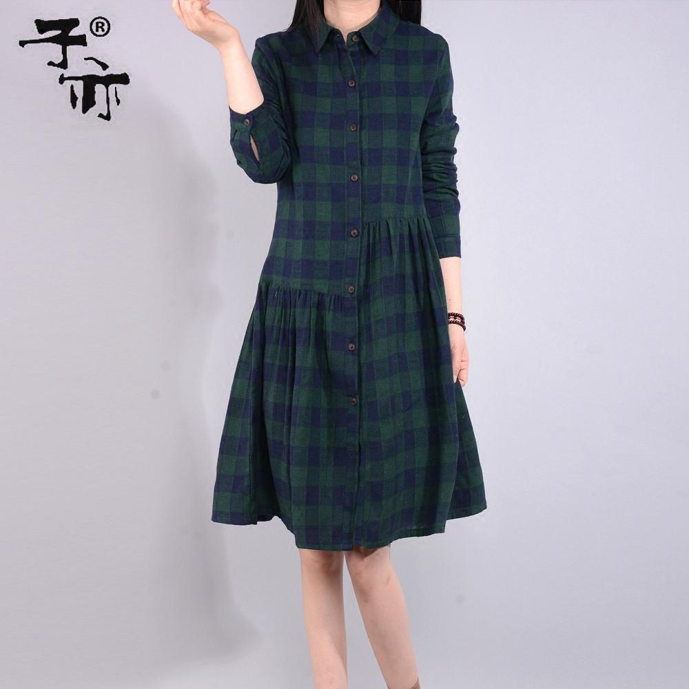 长款格子衬衫 子亦2017春季女装韩版宽松大码格子衬衫裙中长款休闲长袖衬衣外套_推荐淘宝好看的女长款格子衬衫
