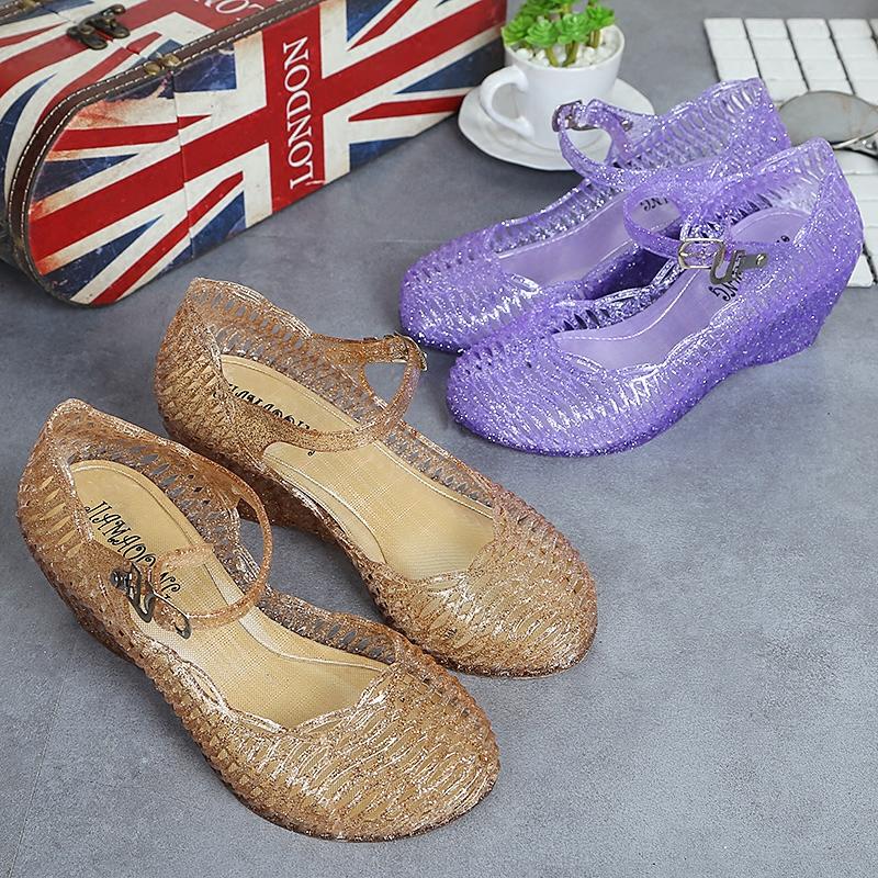 水晶坡跟鞋 鸟巢坡跟女鞋塑料凉鞋水晶凉鞋女广场舞鞋妈妈鞋中跟_推荐淘宝好看的水晶坡跟鞋