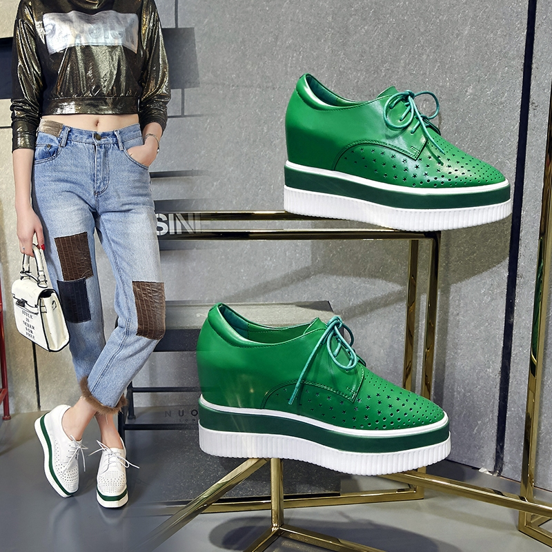绿色松糕鞋 2017夏季新款内增高方头单鞋女防水台厚底坡跟松糕洞洞鞋系带绿色_推荐淘宝好看的绿色松糕鞋