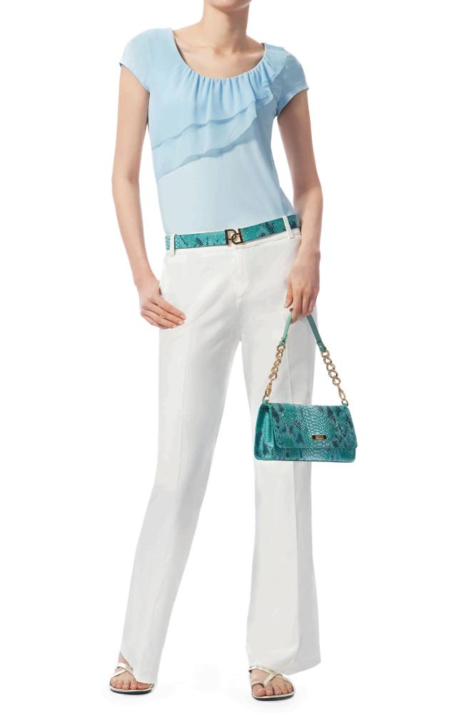 宝姿T恤 Ports 女士正品 浅蓝色针织T恤衫 俏丽佳人 LJ1N045ICD002_推荐淘宝好看的ports T恤