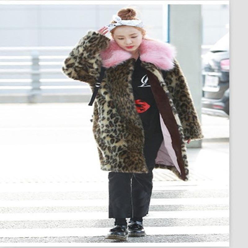 豹纹皮草 上新冬装街拍加厚保暖毛绒外套加厚韩版中长款豹纹仿皮草外套大衣_推荐淘宝好看的豹纹皮草