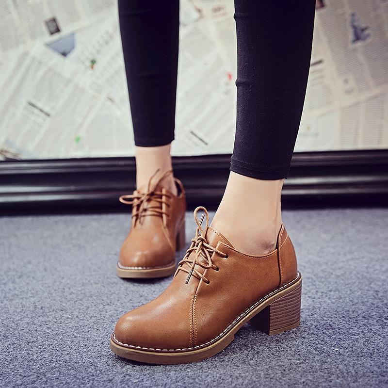 气质小单鞋 女鞋秋鞋2016新款高跟单鞋女圆头粗跟英伦学院风系带皮鞋百搭气质_推荐淘宝好看的女气质单鞋