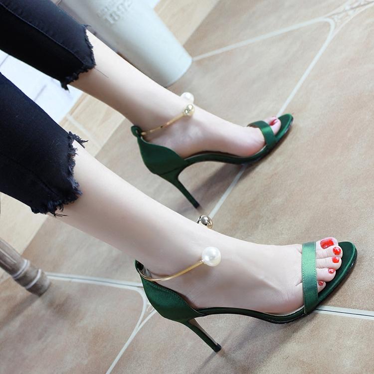 女式高跟凉鞋 2017夏季新款绿色一字扣带凉鞋女细跟中跟性感露趾高跟女鞋32小码_推荐淘宝好看的女高跟凉鞋