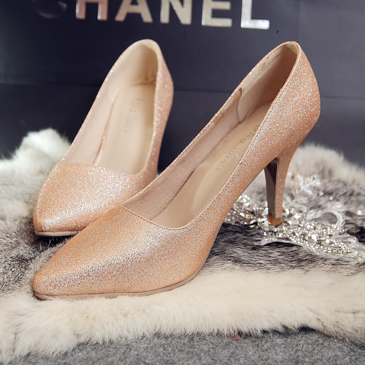 红色单鞋 晚会鞋晚宴单鞋 高跟婚鞋女金色尖头女鞋红色新娘鞋亮粉水钻单鞋_推荐淘宝好看的红色单鞋