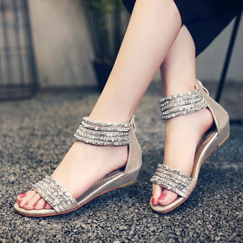 水钻罗马鞋 2017夏季新款串珠水钻坡跟低跟波西米亚罗马风格后拉链露趾女凉鞋_推荐淘宝好看的水钻罗马鞋