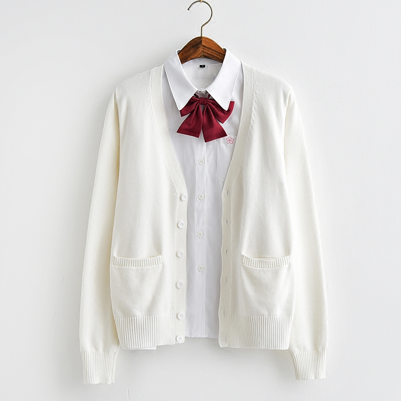 宽松可爱的针织衫外套 日系JK制服开衫薄款 少女学院风长袖针织衫 甜美可爱纯棉毛衣外套_推荐淘宝好看的可爱针织衫外套