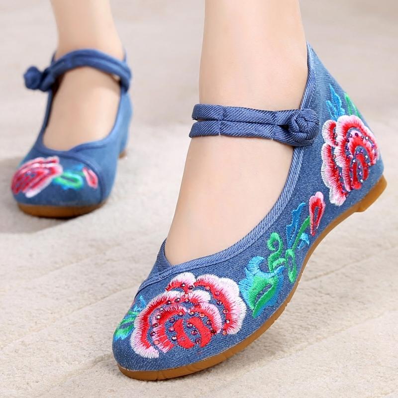 坡跟鞋 老北京布鞋女 民族风绣花鞋 内增高坡跟舞蹈鞋一字扣带防滑单布鞋_推荐淘宝好看的女坡跟鞋