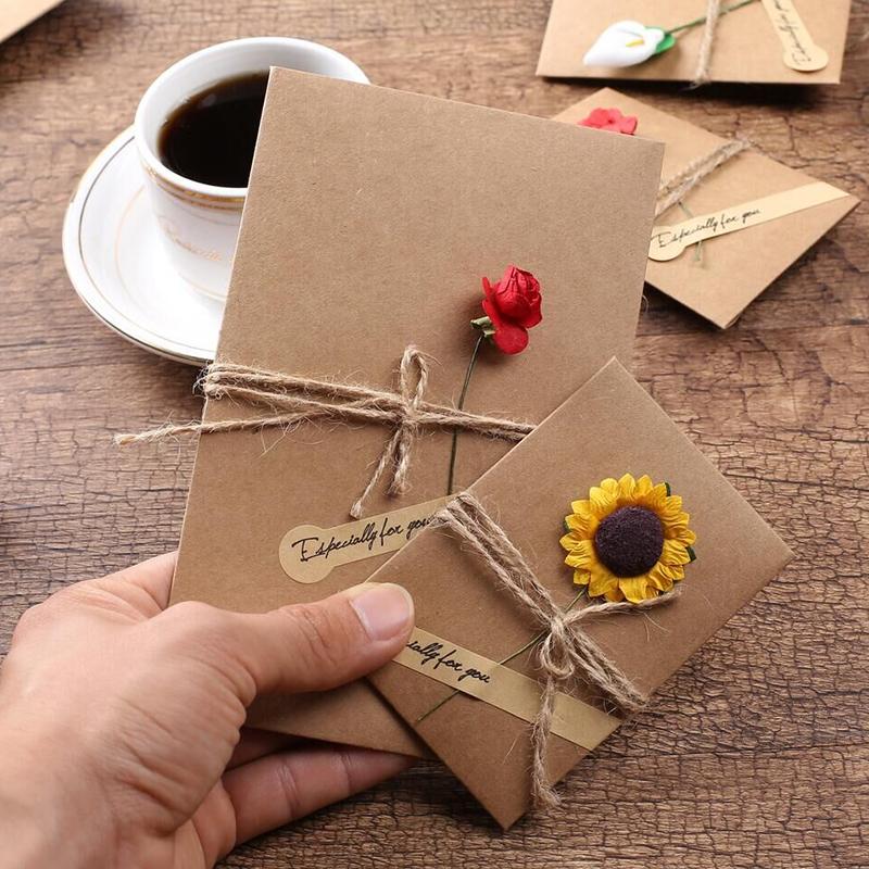 紫色信封包 贺卡韩国创意复古风紫色信封干花空白小卡片生日感恩祝福卡包邮_推荐淘宝好看的紫色信封包