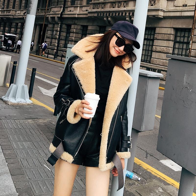 皮草外套 COCO LIMITED 2016新款经典机车美利奴皮毛一体皮草外套中长款女_推荐淘宝好看的女皮草外套