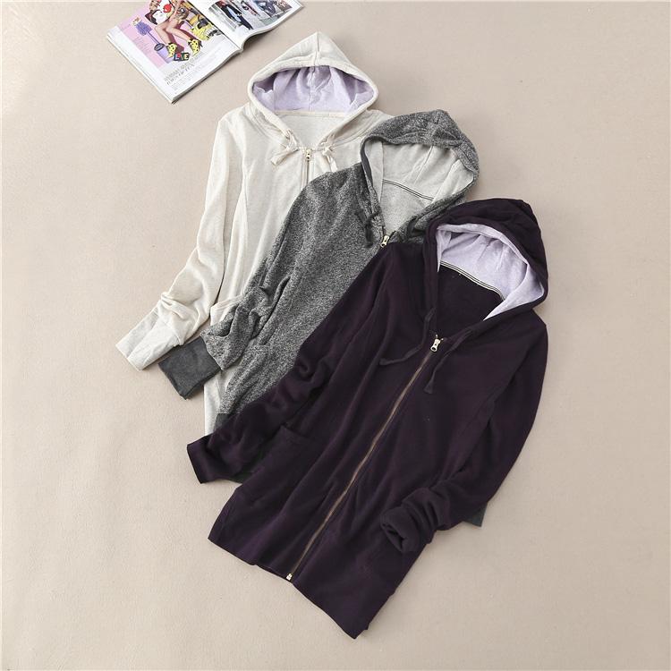 紫色卫衣 春款休闲女装纯色常规款连帽卫衣 棉质开衫拉链外套WC3313_推荐淘宝好看的紫色卫衣