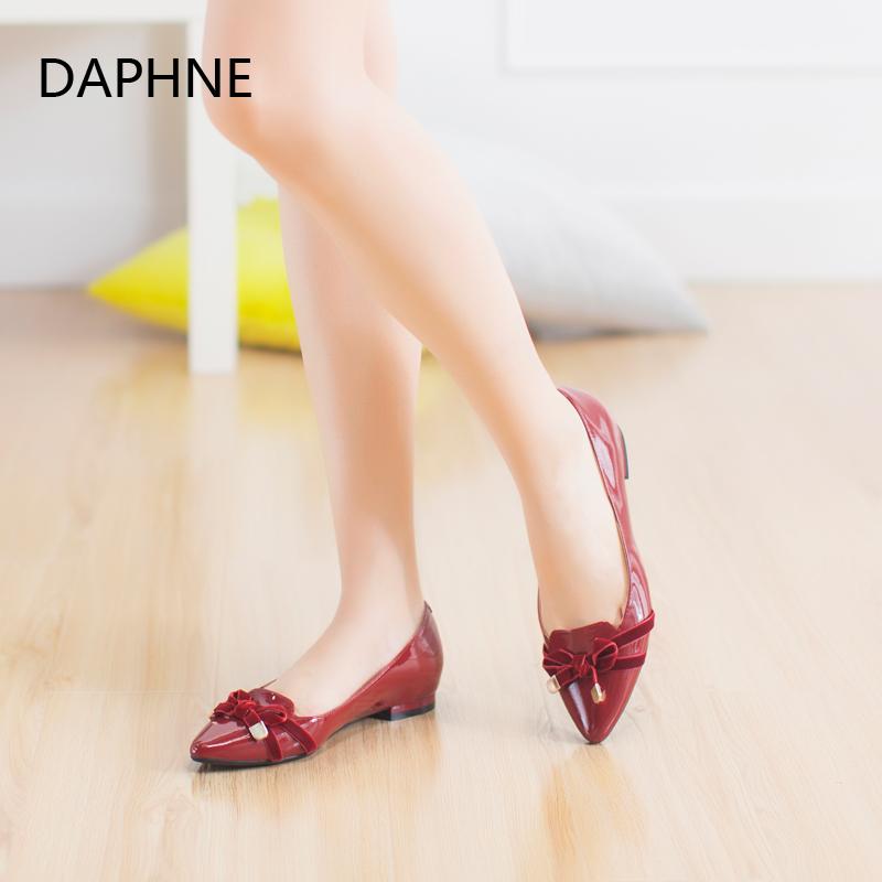 达芙妮尖头鞋 Daphne达芙妮女鞋 优雅蝴蝶结经典舒适尖头平跟单鞋1015404030_推荐淘宝好看的达芙妮尖头鞋