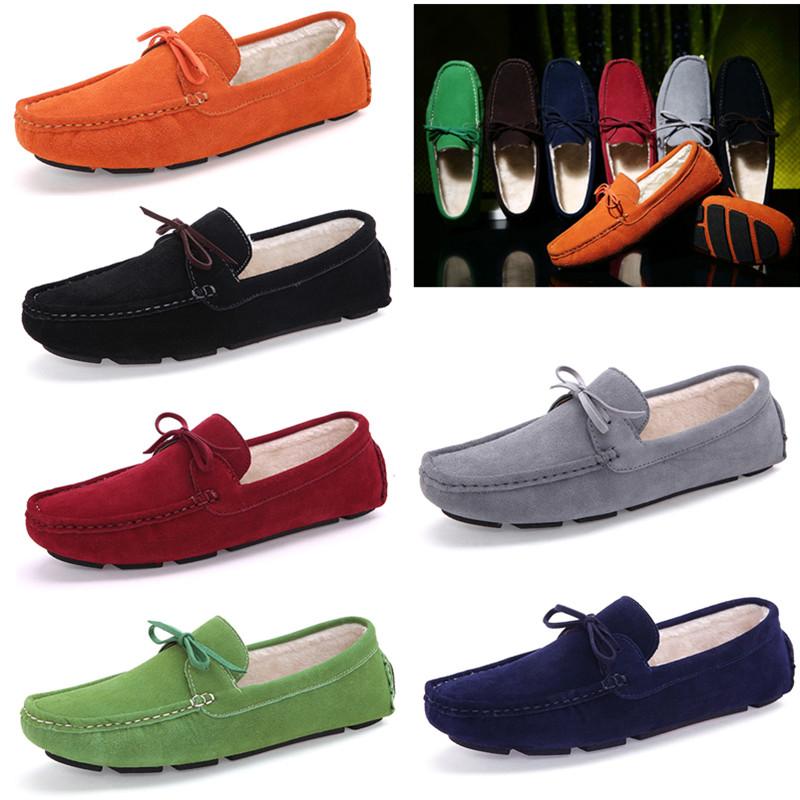 绿色豆豆鞋 冬季款有毛的橙色男休闲鞋桔色绿色加棉保暖豆豆鞋男士冬天二棉鞋_推荐淘宝好看的绿色豆豆鞋