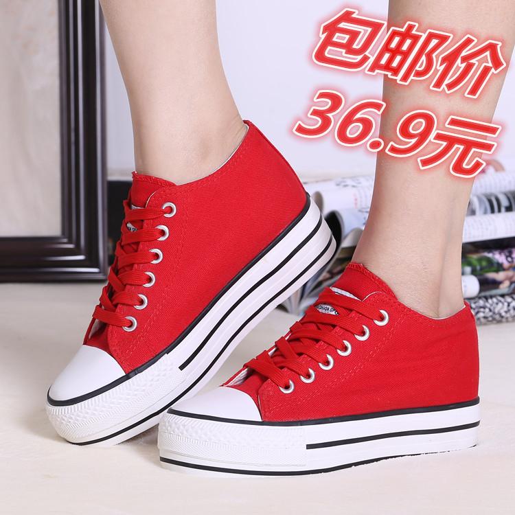 红色帆布鞋 春夏新款红色低帮帆布鞋女韩版学生百搭圆头厚底内增高休闲鞋板鞋_推荐淘宝好看的红色帆布�