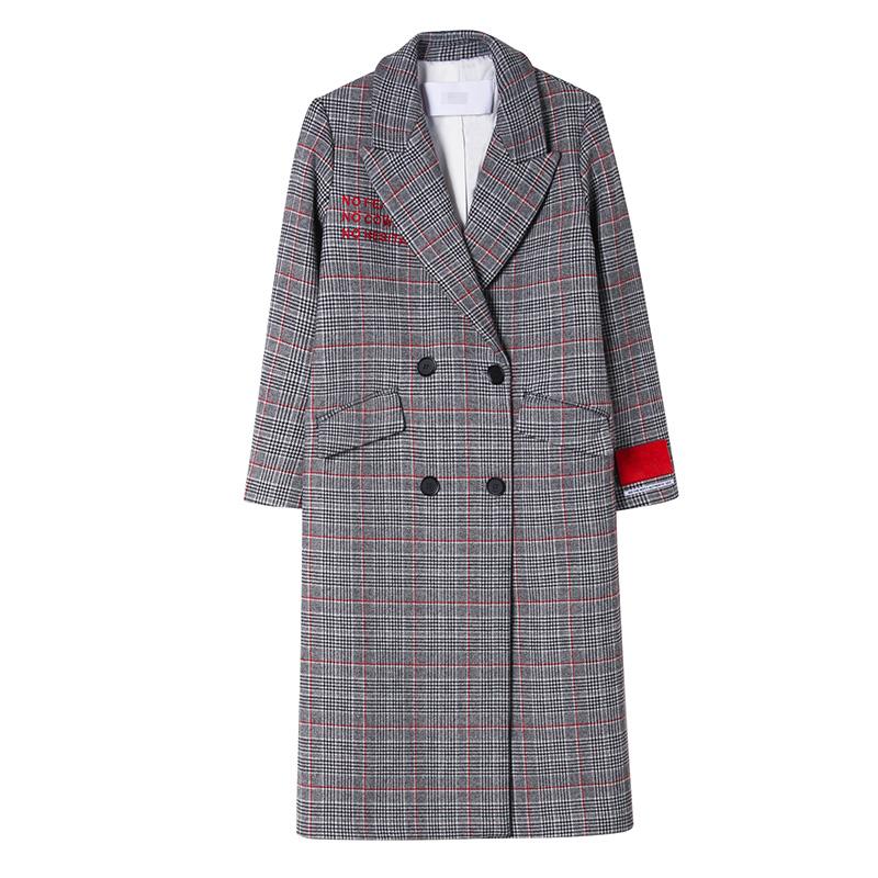 欧时力服装 摩安欧时力珂2017新女冬装格子刺绣长羊毛呢大衣外套1JY4341260_推荐淘宝好看的欧时力