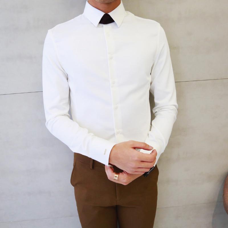 白色衬衫 【小胡子店】绣标 可拆卸领带 百搭长袖衬衫韩国日常修身纯色衬衣_推荐淘宝好看的白色衬衫
