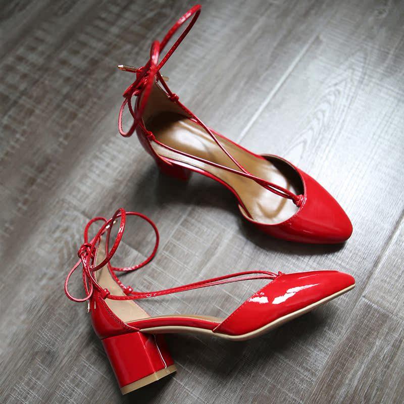 红色罗马鞋 罗马交叉绑带凉鞋女夏天网红同款复古圆头粗跟中跟性感高跟鞋红色_推荐淘宝好看的红色罗马鞋