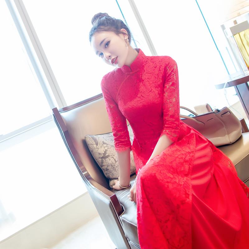 红色蕾丝连衣裙 天天特价春秋款新款显瘦立领裙子大红色蕾丝旗袍连衣裙女装中长款_推荐淘宝好看的红色蕾丝连衣裙