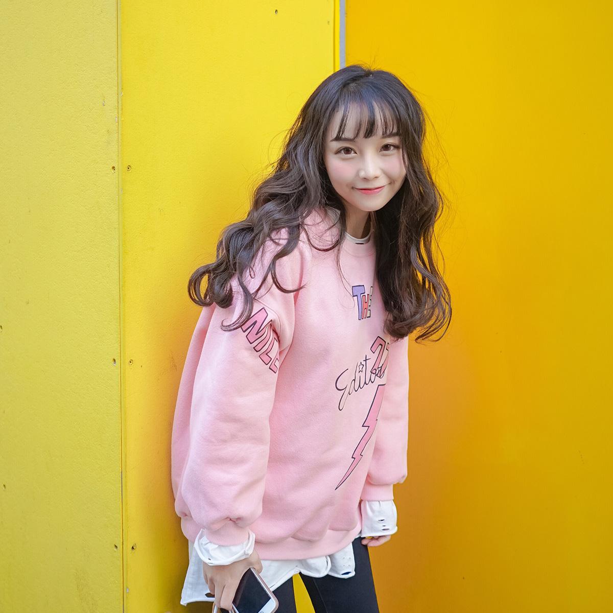 粉红色卫衣 宋黛 日系学生粉色加绒加厚卫衣女宽松 学院风卡通字母上衣_推荐淘宝好看的粉红色卫衣