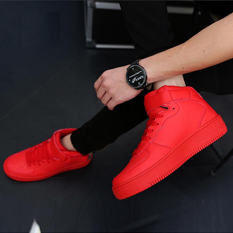红色高帮鞋 冬季男士高帮鞋板鞋运动增高韩版休闲街舞红鞋加绒棉鞋红色男鞋子_推荐淘宝好看的红色高帮鞋